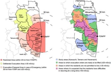 Mapky evakuační zóny v okolí elektrárny Fukušima Dajiči, na nichž je modrou barvou znázorněna poloha zkoumaných oblastí (Tamano, Haramači a Kawauči). Na pravé mapce jsou dále znázorněny oblasti, pro něž budou evakuační nařízení brzy zrušena (zelená barva), oblasti, v nichž není zatím povoleno se dlouhodobě zdržovat (oranžová), a oblasti, na jejichž území bude i v budoucnu problém s návratem obyvatel do jejich domovů (fialová barva). (Zdroj: World Nuclear News)