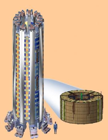 Celkový pohled na centrální solenoid s lidským měřítkem.