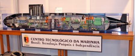 Model řezu budoucí brazilské jaderné ponorky. (Zdroj: Npsglobal.org)