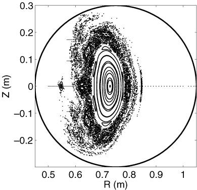 Numerická simulace plazmatu v tokamaku se zřejmými magnetickými ostrovy po obvodu. Zdro: IOPscience
