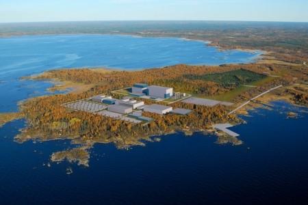 Lokalita budoucí elektrárny Hanhikivi-1 a jedna z představ o její budoucí podobě. (Zdroj: Publicatom.ru)