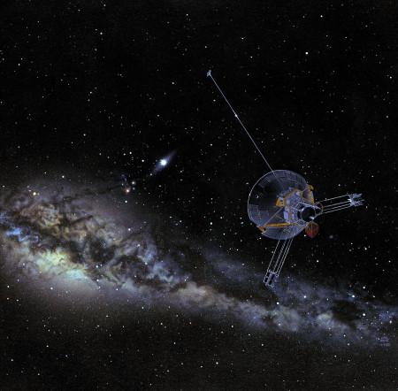 Umělecké pojetí pohledu sondy Pioneer 10 z oběžné dráhy okolo Neptuna zpět ke Slunci. (Zdroj: Nasa.gov)
