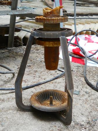 Detail misky, která rozstřikuje chladicí vodu. (Zdroj: Atominfo.cz)
