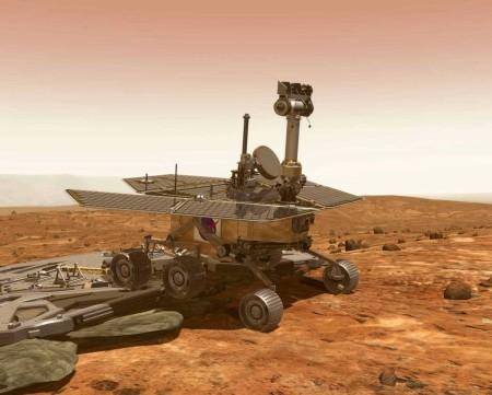 Umělecké pojetí vozítka Opportunity opouštějícího přistávací modul. (Zdroj: Marsrovers.jpl.nasa.gov)