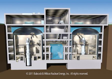 Schéma elektrárny s dvěma reaktory typu mPower. (Zdroj: Generationmpower.com)