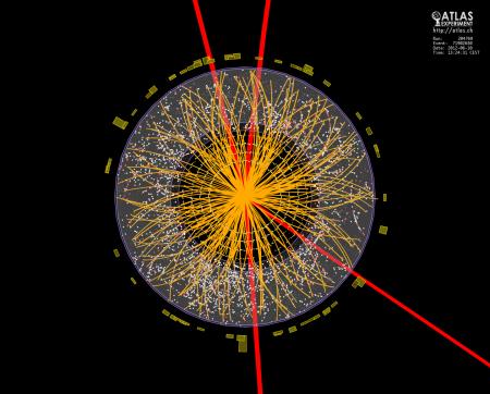 Obrázek vzniklý analýzou dat z detektoru ATLAS, který zachycuje čtyři miony (červené dráhy) pocházející z ropadlé Higgsovy částice. (Zdroj: Cern.ch)
