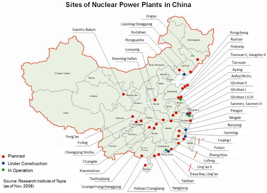 Čína plánuje pokračování masivního rozvoje jádra