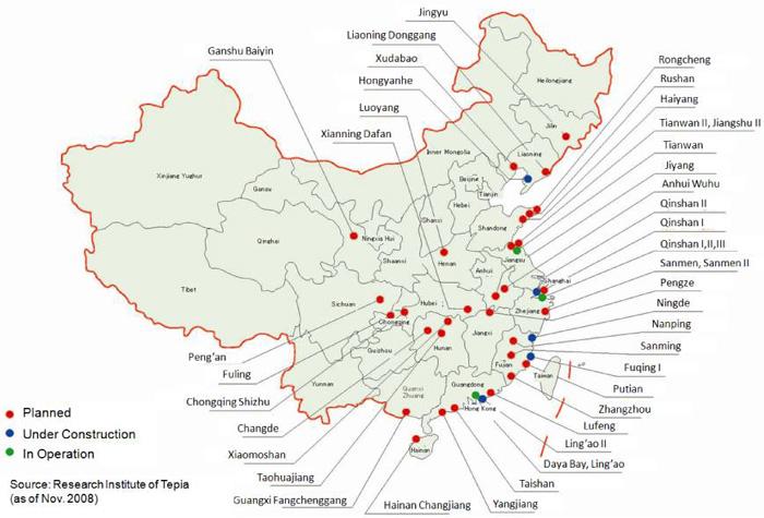 V příštím roce by Čína mohla spustit 12 nových jaderných bloků