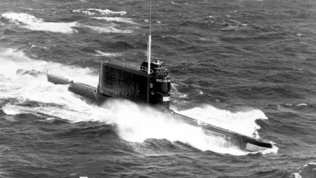 An aerial starboard bow view of a Soviet Golf II class ballistic missile submarine underway.