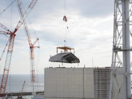 Fukushima Daiichi 1 final roof panel removal - 460 (Tepco)