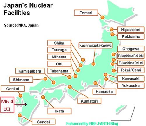 jaderná energie - Japonsko chce zavést změny týkající se vyřazování jaderných bloků z provozu - Back-end (map of japans npp and 6 4 kumamoto eq location1) 2