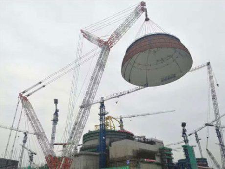 jaderná energie - První blok s designem Hualong One v JE Fu-čching dostává svoji podobu - Nové bloky ve světě (Fuqing 5 dome installation 460 CNNC) 1