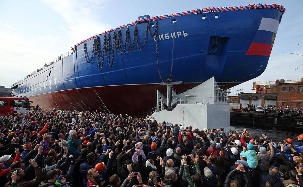 jaderná energie - Nejvýkonnější ledoborec světa byl vPetrohradě spuštěn na vodu - Jádro na moři (sibir jde na vodu 1 1024) 3
