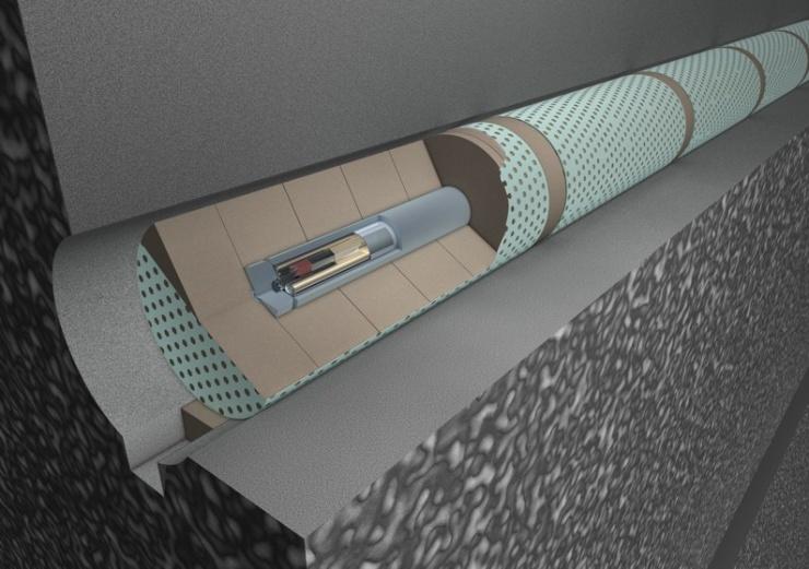 jaderná energie - Babišova vláda projedná plán činnosti správy úložišť - Back-end (ukladaci tunel rez horizontalne a 740) 1