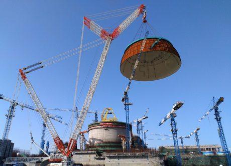 jaderná energie - Ve druhém čínském bloku Hualong One byla instalována kopule kontejnmentové budovy - Nové bloky ve světě (Fuqing 6 dome installed 460 CNI23) 1
