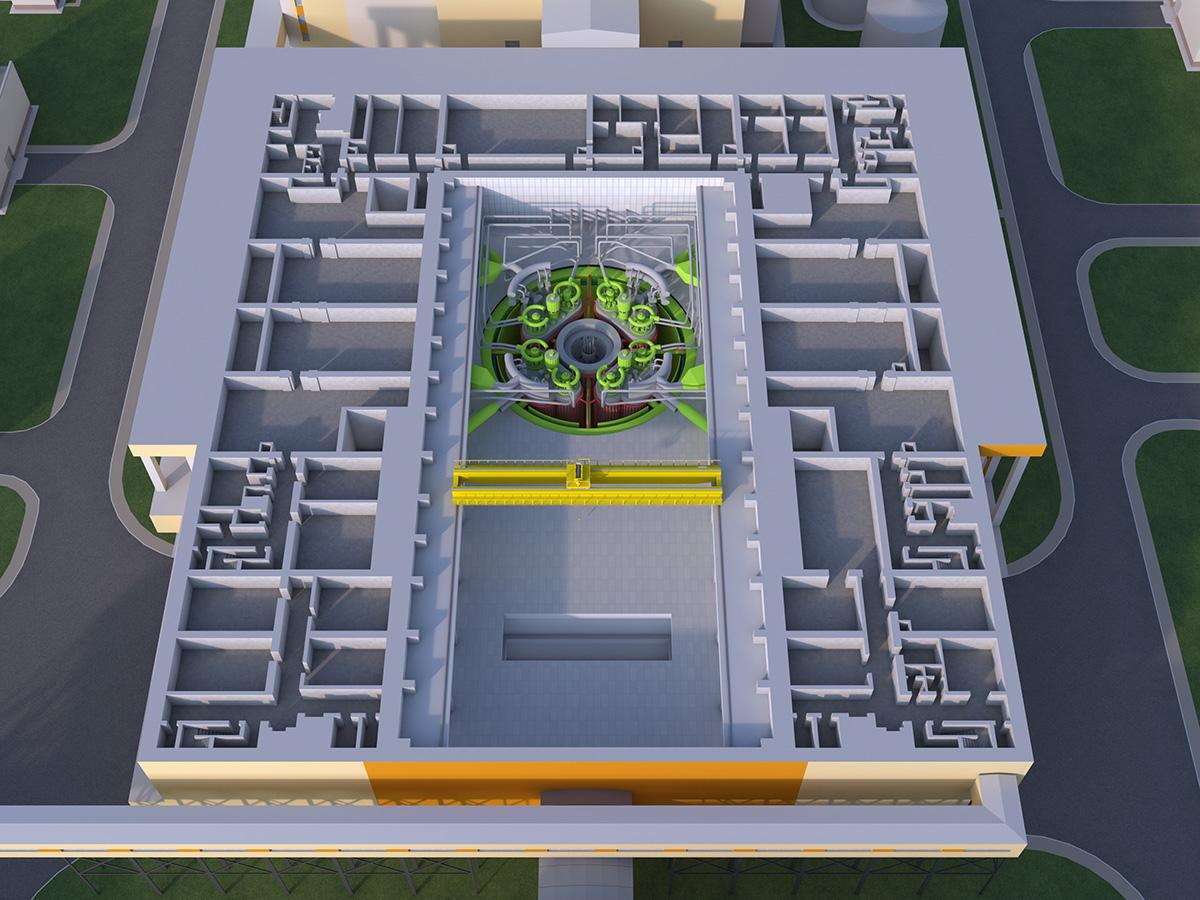 jaderná energie - Výstavba inovativního jaderného reaktoru BREST-300 začne v příštím roce - Zprávy (BREST Vizualizace reaktorové budovy s reaktorem BREST 300) 3