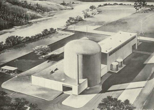 jaderná energie - Jaderné umělecké koncepty - Zprávy (AI 100 MWe organic cooled cylinder containment artists concept 1) 2
