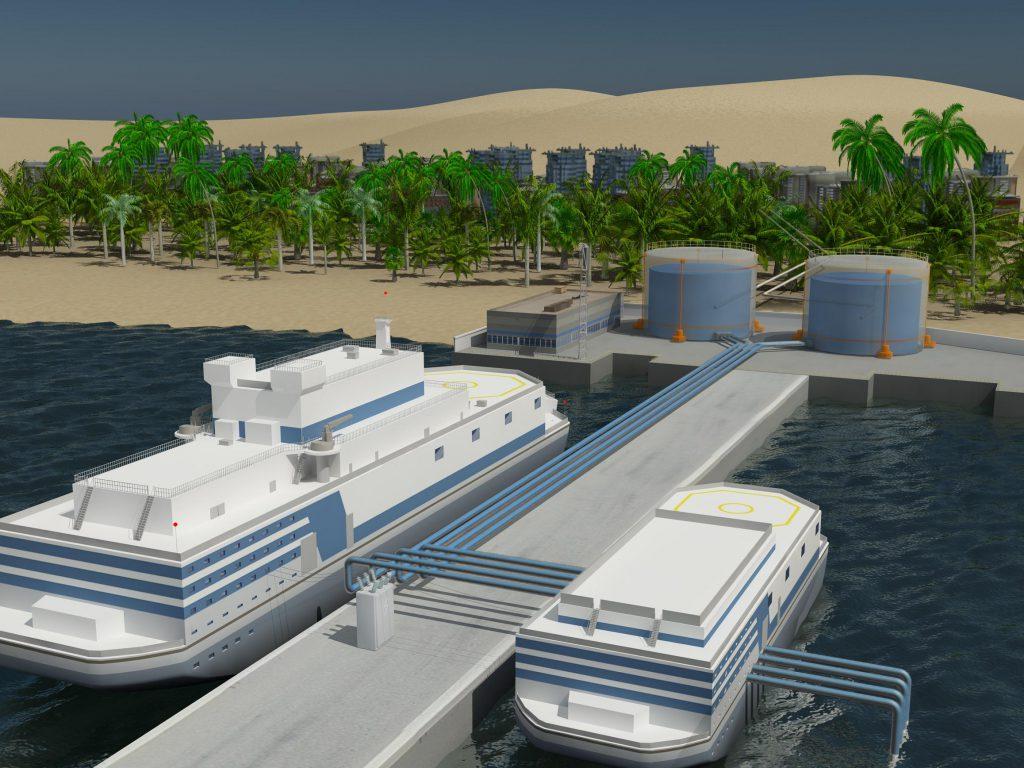 jaderná energie - Projekt optimalizované plovoucí jaderné elektrárny bude hotov letos v květnu - Zprávy (Jedna z vizualizací plovoucí jaderné elektrárny s pomocným plavidlem) 1