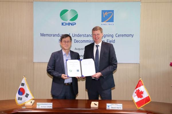Jihokorejská KHNP podepsala smlouvu s Kinectrics a vyšle specialisty na demontáž jaderných elektráren do Kanady