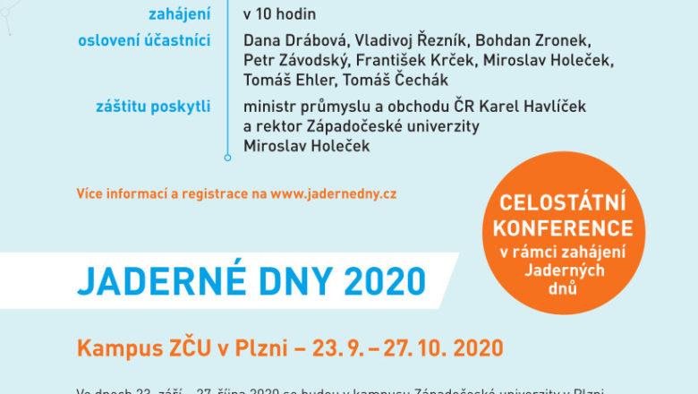 Jaderné dny 2020 proběhnou 23. 9. – 27. 10.