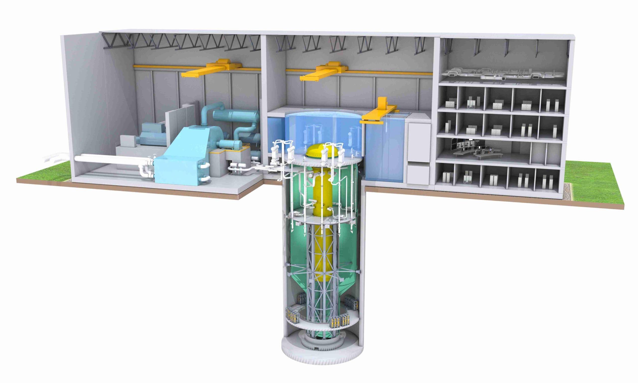 jaderná energie - Společnost GE Hitachi pokročila v licencování malého reaktoru BWRX-300 - Inovativní reaktory (BWRX 300 Plant Cutaway web 1 scaled) 3