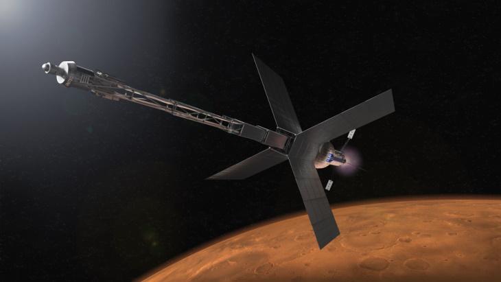 jaderná energie - Vláda USA vydala novou směrnici o jádru ve vesmíru - Jádro ve vesmíru (Illustration of Mars transit habitat and nuclear propulsion system NASA) 3