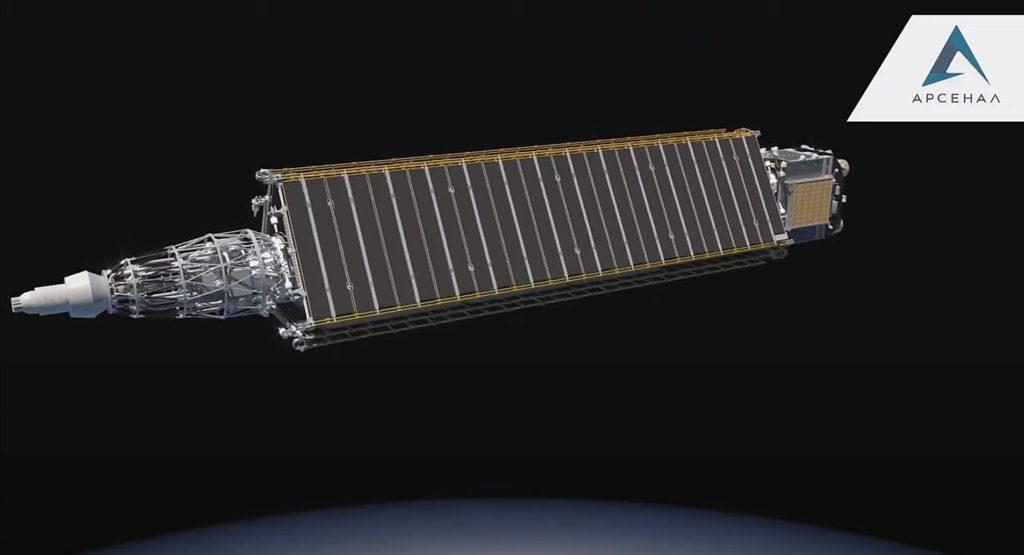 jaderná energie - Projekt jaderné kosmické lodě Nuklon má za sebou zkoušky jednotlivých součástí - Jádro ve vesmíru (Vizualizace transportního a energetického modulu Nuklon Zdroj KB Arsenal 2) 1