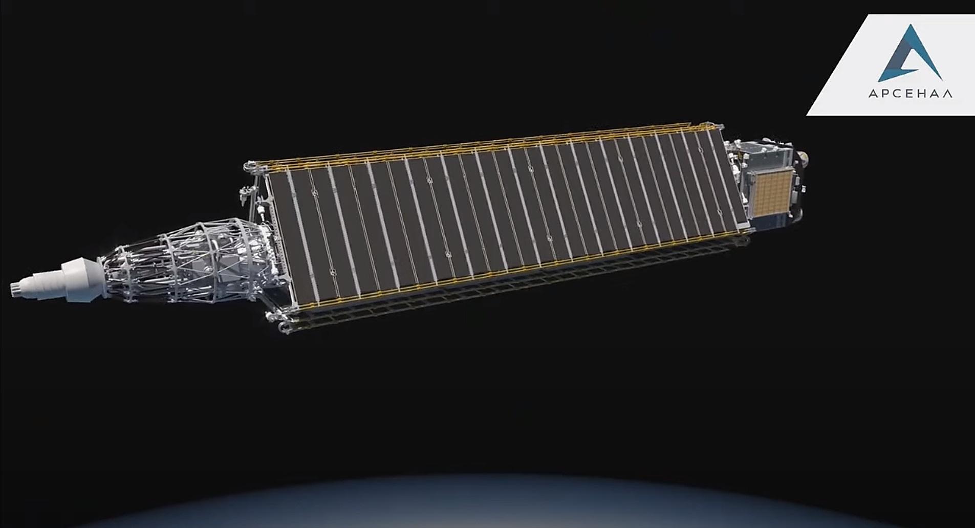 jaderná energie - Projekt jaderné kosmické lodě Nuklon má za sebou zkoušky jednotlivých součástí - Jádro ve vesmíru (Vizualizace transportního a energetického modulu Nuklon Zdroj KB Arsenal 2) 2