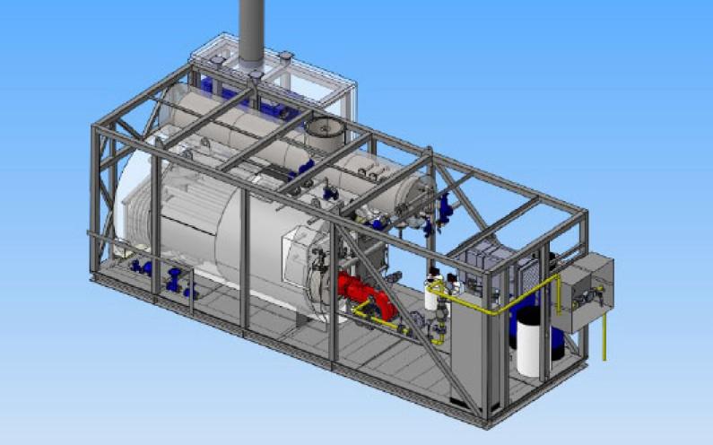 Model parní kontejnerové kotelny od společnosti MICo. (Zdroj: MICo)