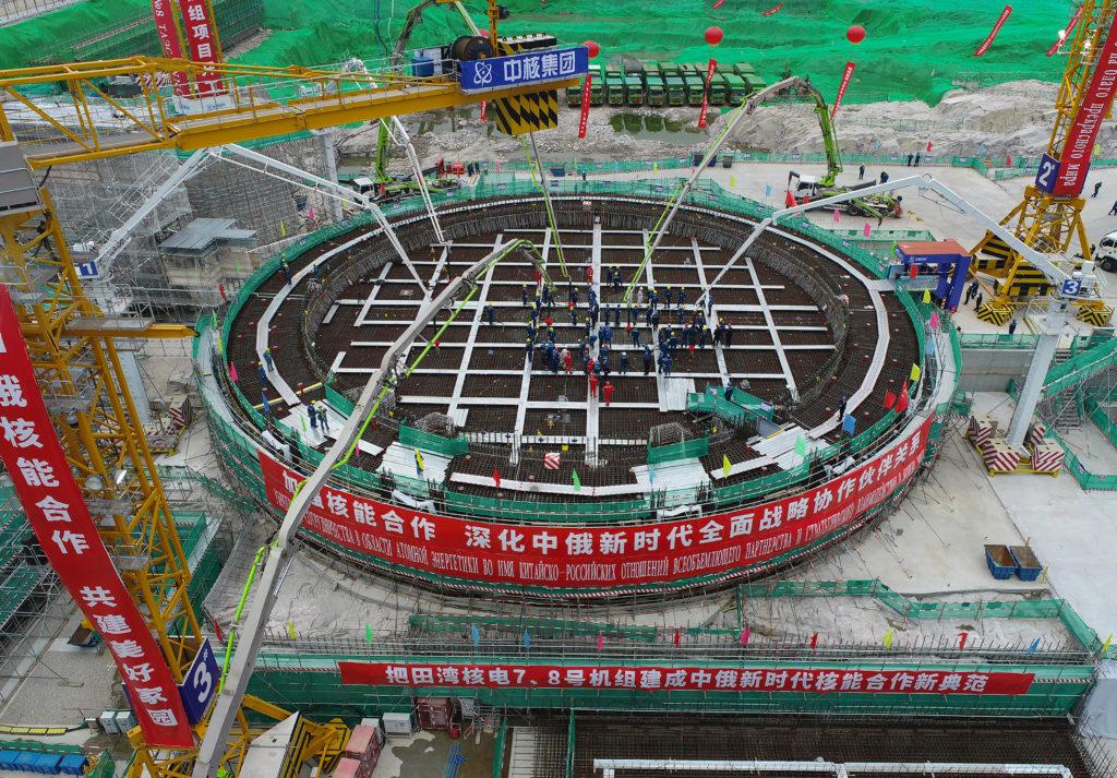 Lití prvního betonu do základů reaktorové budovy 7. bloku JE Tchien-wan. (Zdroj: Rosatom)