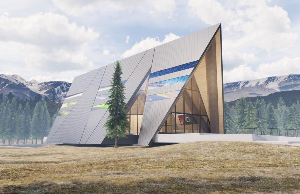 Vizualizace malého modulárního reaktoru Aurora od společnosti Oklo, který vypadá jako horská chata. (Zdroj: Oklo)