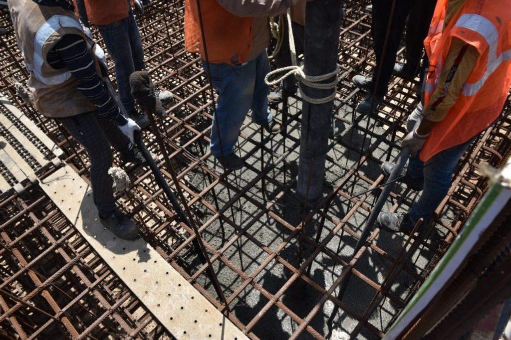 První beton v základech reaktorové budovy 5. bloku JE Kudankulam. (Zdroj: Rosatom)