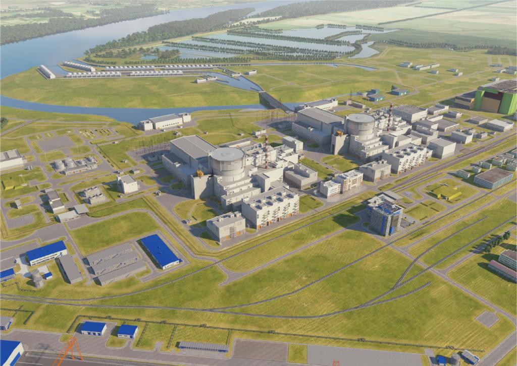 Vizualizace dvou bloků VVER-1200 maďarské jaderné elektrárny Paks II. (Zdroj: Paks II Ltd)