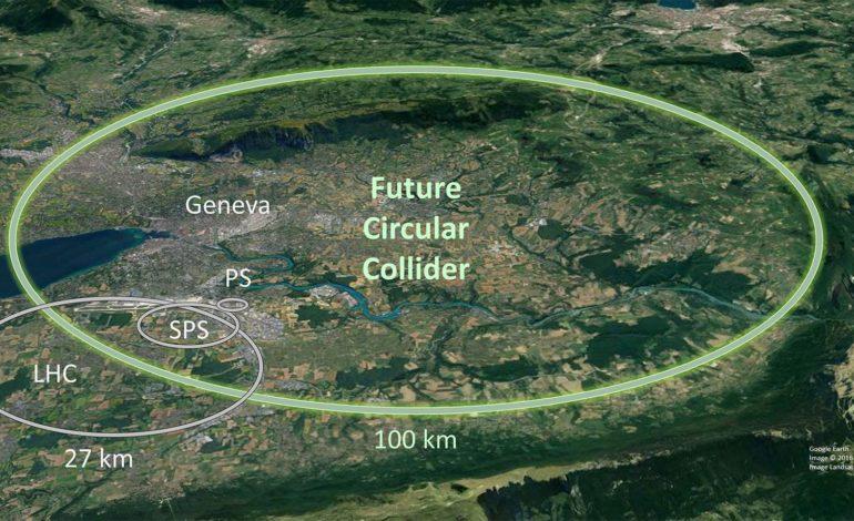 jaderná energie - Supravodiče vyrobené Rosatomem pro srážeč částic nové generace prošly zkouškami - Věda a jádro (Vizualizace prumeru srazece FCC oproti starsim zarizenim) 2