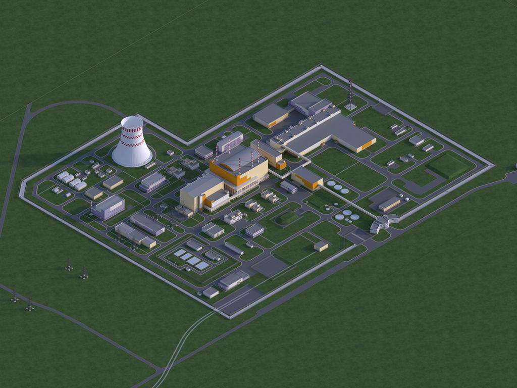 Vizualizace energetického komplexu s reaktorem BREST-OD-300, který bude mít uzavřený palivový cyklus. (Zdroj: Rosatom)