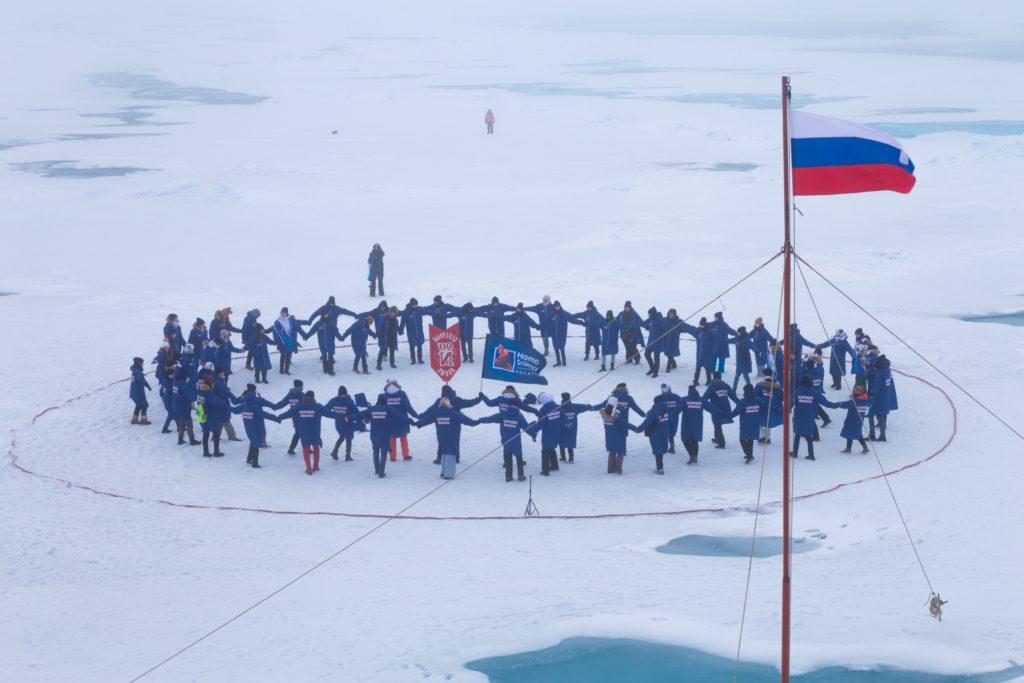 Účastníci expedice na severním pólu. (Zdroj: Rosatom)