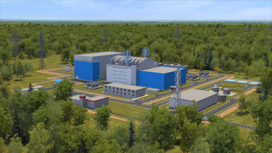 Vizualizace jaderné elektrárny malého výkonu s reaktorem RITM-200N. (Zdroj: Rosatom)